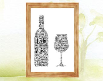 Wine Bottle and glass  Personalised A4 Word Art Print Perfect Gift Present