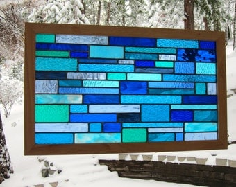 Oak Framed Blues Stained Glass Window - Can be displayed horizontally or vertically