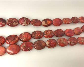 "Sea Sediment Imperial Jasper Beads 12x16mm Oval Orange Loose Beads Semiprecious Gemstone 15""L 15""L  Supply 4538- Wholesale Beads"