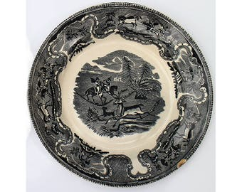 Antique Earthenware Plate-  XIX century - Antique  chinaware from Spain  - Hunting Scene