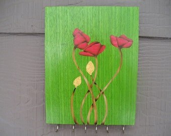 Key holder - marquetry - inlay - red flowers - woodworking - wood inlay - made in Montana - wall organizer - jewelry organizer