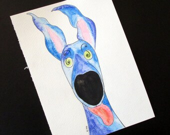 "Greyhound galgo original watercolour ""Wait! Santa gets milk AND cookies?!?"" silly old (grey)hound 6"" x 8.25"""