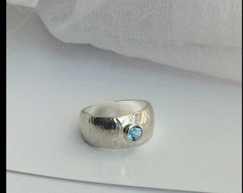 OOAK sterling silver Aquamarine gemstone Ball Ring March birthstone size 7.75 US