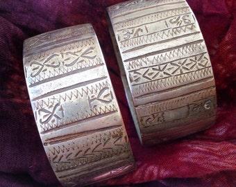 Pair of Old Berber Tribal Bracelets Handmade, Moroccan Sahara