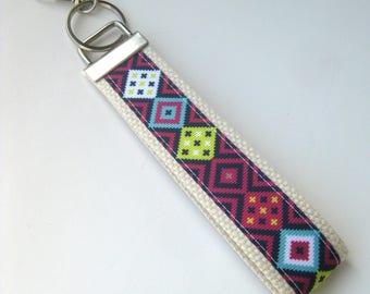 Tribal KEY FOB Wristlet- Womens Keychain- Aztec Keychain- Wrist Keychain for Her- Wristlet Key Chain- Gift for Her- Gift for Women Under 10