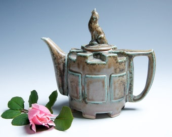 Wolf Porcelain Ceramic Teapot / Brown and Gray / Neutrals