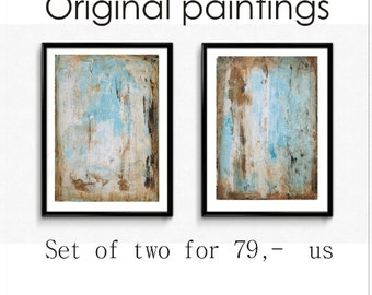 abstract painting nice wall art  blue,creme acrylic painting  by Jolina Anthony