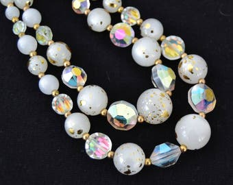 Vintage Double-Stranded Necklace with Gold and White Moonglow Beads and Glass Beads
