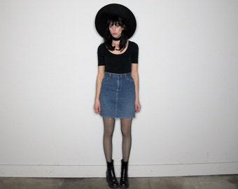 FRAY HEM Vintage LEE Denim Skirt High Waist Vintage Size 27