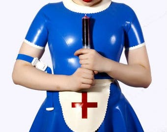 Latex Dress, Latex Nurse Outfit with Back Zip