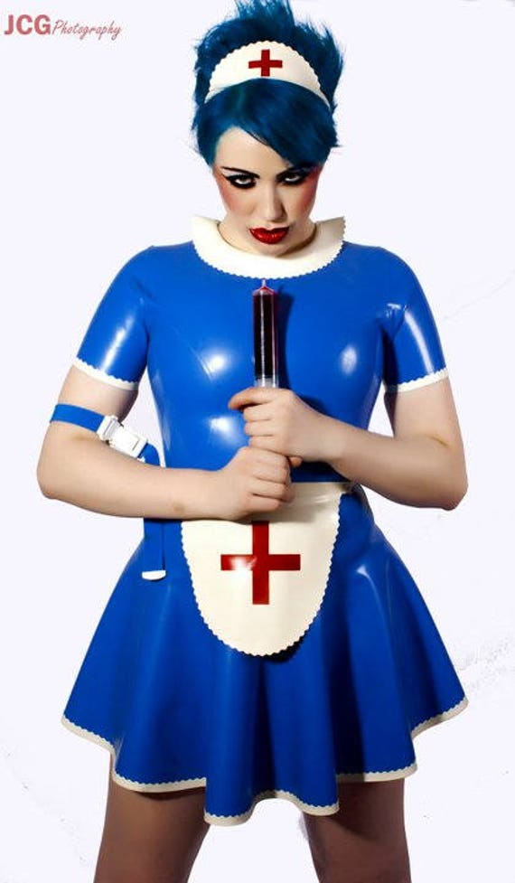 Latex Dress Latex Nurse Outfit with Back Zip