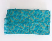 Turquoise with Gold Foil Print Cotton Fabric