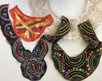 Fashion trim, Boho Embroidered trim, Beaded Patch, Crafting Supply, Sewing Supply, Fashion Trim