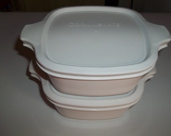 2 Corning Ware Petite Pan P-43-B 2 3/4 Cup  Winter White with Air tight Plastic Lids