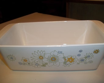 1 Corning Ware Loaf Pan P-315-B,   Floral Bouquet 3rd Edition  Print