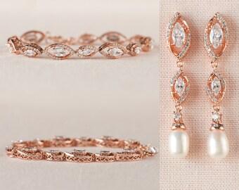 Pearl Rose Gold Bridal Earrings, Wedding Jewelry, Gold Wedding Earrings, Bridesmaid jewelry, Freshwater Pearl, Grace Bridal Jewelry