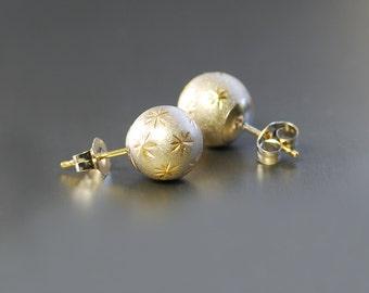 14k White Gold Post Earrings. White Gold Ball Studs