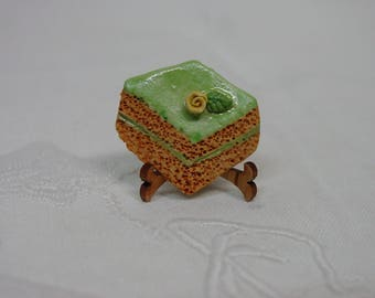 """Realistic Button, Piece of Cake with Tiny Flower on Frosting, Really Cute, 1"""""""