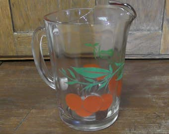 1940's - 50's Vintage Painted Oranges Heavy Glass Juice Lemonade Tea Pitcher