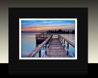 Sunset Dock by the Bay Matted Print, Sunset theme art, Blue Orange wall decor, Avalon Pier, Ready for framing or framed