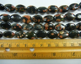 13x9x4mm puff oval black lizard skin jasper beads 1 full strand (GSS-9)