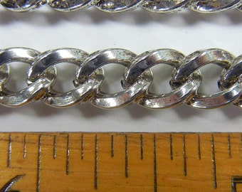 6mm square wire curb chain, antique silver plate over steel ,sold per foot, (BMC-64)