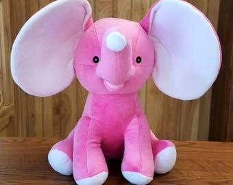Hot Pink Dumble Cubbies Elephant Stuffed Animal Personalized Keepsake Birth Annoucement