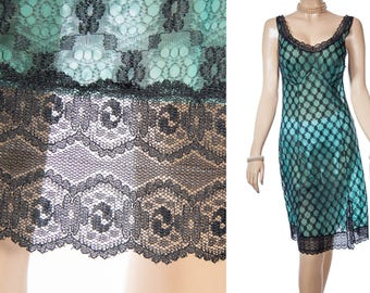 Enchanting sheer soft double layer rich emerald green Perlon and all-over sexy black lace overlay 1960's vintage full slip petticoat - 3909