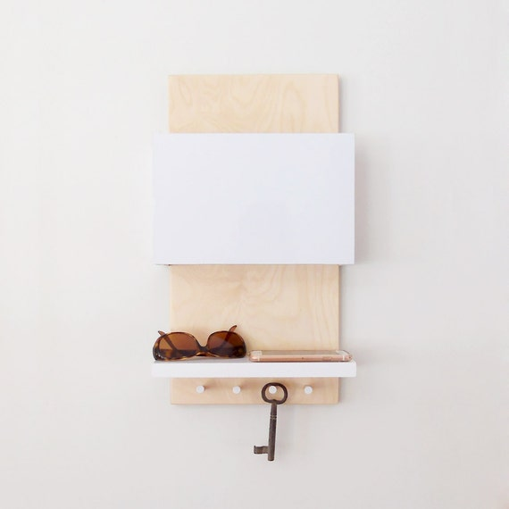 WALL ORGANIZER: magnetic whiteboard dry erase board modern minimal entry kitchen office organizer, magazine mail holder with shelf key hooks