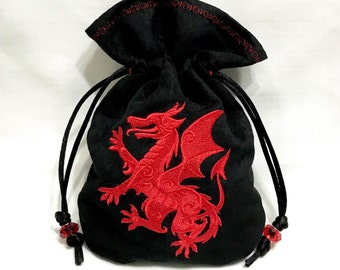 RED DRAGON - Embroidered Drawstring Dice Bag, Tarot Card Bag, Rune Pouch made of faux suede - LARP Costume Accessory