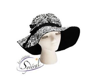 Ladies black and white summer hat, coton hat, beach hat, travel hat, big capeline, women summer hat, women capeline, sun capeline