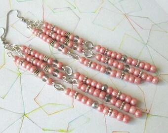 Pink Seed Bead Dangle Earrings, Pink Seed Bead Long Earrings, Powder Pink Glass Bead Boho Earrings, Mango Tease, FREE US SHIPPING