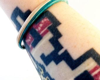 Recycled Skateboard Wood Blue and Maple Thin Bangle Bracelet