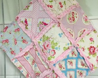 Baby Girl Gift Rag Quilt Lovey Minky Security Blanket