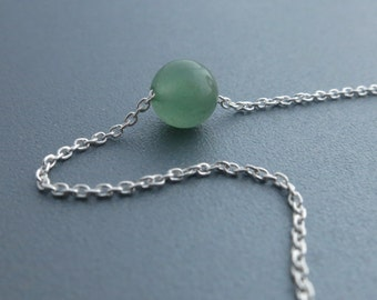 Green Aventurine Stone Silver Necklace Simple Sterling Silver Choker