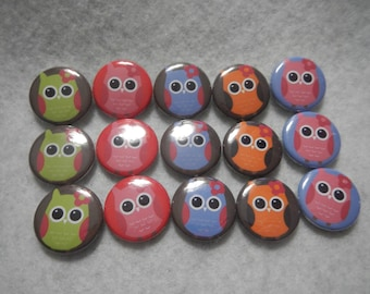 15 Nature Cutie Hoot Owls Pinback Button Shower Goody Gift Treat  Party Favors Brooches