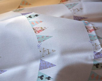 French Script Bunting fabric, printed on Organic Cotton Sateen