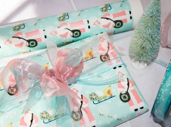 Gift Wrap 6 foot rolls of Shabby Chic Father Christmas Presents paper