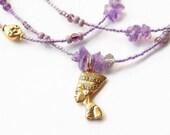 African Waist Beads, Amethyst Nefertiti Waist Beads, Purple Healing Waistbeads, African Belly Chains, Belly Beads