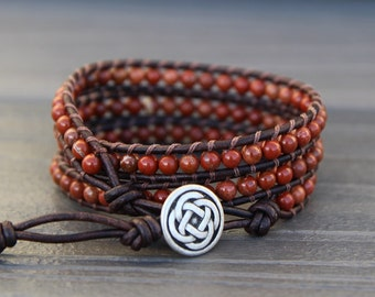 Red Jasper Beaded Triple Leather Wrap Bracelet - Stone Boho Bracelet with Celtic Knot Button