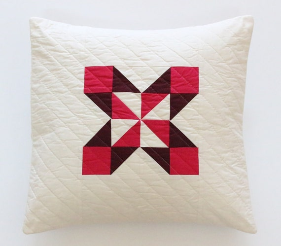 Red Burgundy Maroon Quilted Throw Pillow