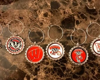 Wisconsin Badgers inspired wine glass charms for the wine lover in your life.... Set of 6