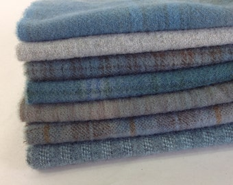 Old Flag Blues, Hand Dyed Wool Fabric for Rug Hooking and Applique, 7) Fat Sixteenths, W312, Primitive Blues, Country Blues