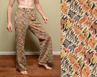 vintage 70s Oxford baggies plaid funky pattern pants baggy wide leg flare tapestry pimp Oxford bags Putnam Hall 1970 34 waist