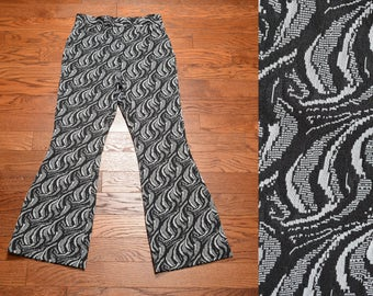 vintage 70s funky pattern pants wide leg flare trouser 1970 bellbottom tapestry pimp black white grey pattern 1970 34x34 34 waist