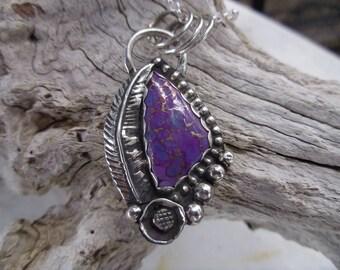R122--Purple Copper Turquoise Pendant
