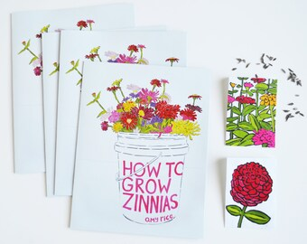 How To Grow Zinnias/ Zine + Zinnia Seeds in Hand-Painted Seed Packages