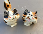 Cat salt and pepper shakers,cat figurines, clay cats, ceramic cats, cute cats, by Pencepets, Pence dogs