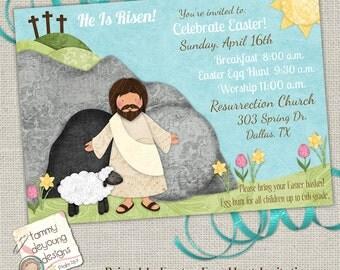Religious Easter Egg Hunt Invitation, Easter Worship Invite, Easter Party, Printable Easter Brunch Invite, Sunday School Party evite