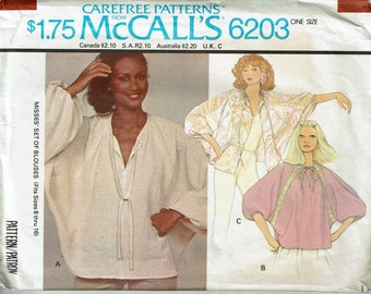 1970s smock top poncho blouses Dolman Sleeves Pull over blouse one size fits 8 10 12 14 16 Sewing pattern McCalls 6203 from 1978